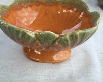 Vintage orange with green drip glaze planter