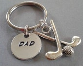 Dad Handstamped Keyring with Golf Charm Accent