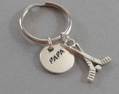 Papa Handstamped Keyring with Hockey Sticks Accent Charm