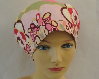 Alexander Henry Kleo Fabric Scrub Hat Chemo Hat With Contrast Band