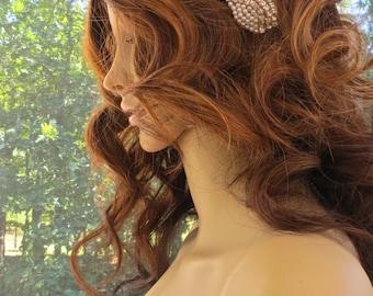 Rhinestone Pearl Headband, Bridal Pearl Headpiece, Wedding Rhinestone Headband