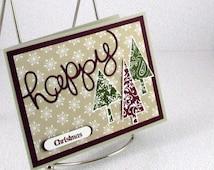 Christmas Card Handmade Happy Holidays Xmas Trees Fun Seasons Greetings Christmas Trees Unisex Merry Christmas CIJ