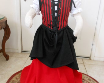 Little Girls Pirate Renaissance Costume sizes 3 - 8. Different Fabrics Available.
