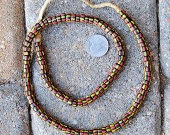 Krobo Beads: Black/Yellow/Red (4x7mm)