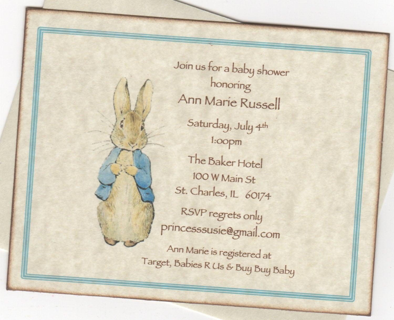 Peter Rabbit Invitation Peter Rabbit Shower Invite Birthday