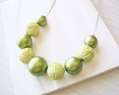 Green Pearl Necklace - Chunky Jewelry, Vintage Beads, Statement, Graduated, June Birthstone, Vegan