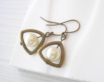 Triangle Earrings, Pearl Drops, Brass Jewelry, Modern, Gold Toned, Dangle, Cream Ivory, White, Wedding, Contemporary, June Birthstone, Vegan