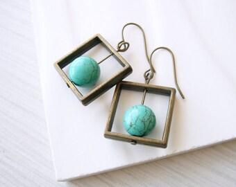 Geometric Earrings, Turquoise Jewelry, Brass Dangle, Modern, Gold Toned, Simple, Contemporary, Stone, Aqua Blue, Modern, Square