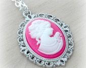 Pink Cameo Necklace Pink Cameo Necklace Cameo Jewelry Victorian Necklace Pink Victorian Cameo Tween Gift Teen Girl Gift