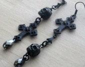 Skull Earrings Black Gothic Jewelry Black Earrings Swarovski Crystal Black Gothic Earrings Black Victorian Jewelry Black Skull Jewelry