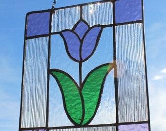 PURPLE TULIP SUNCATCHER - Stained Glass Flower Window, Under 40, Gift for Mom, Gift for Sister, Gift for Girlfriend, Gift for Wife, Glass