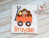 Thanksgiving Turkey in a Wagon Shirt - Personalized Shirt - Custom Thanksgiving Boy Shirt - Baby Boy Holiday Outfit