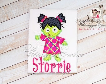 Baby Girl Halloween Outfit - Halloween Cute Girl Zombie Shirt - Toddler Halloween Personalized Shirt - Baby Girl Halloween Zombie Outfit