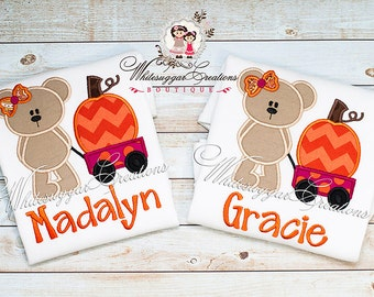 Halloween Personalized Girly Bear Shirt with Pumpkin Wagon - Custom Shirt for Baby Girls  - Halloween Shirt - Holiday Outfit