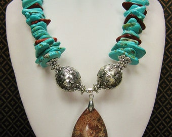 Cowgirl Western Necklace Set / Statement Howlite Turquoise Necklace / Chunky Western Jewelry / Jasper Pendant / Cowgirl - TurQUoiSe & JaSPeR