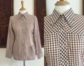 Vintage 70s / Brown Gingham / Long Sleeve / Shirt / Small / Medium