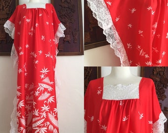 Vintage 60s / Red and White / Umbrella / Maxi / Lauau / Hippie / Festival / Dress / Large