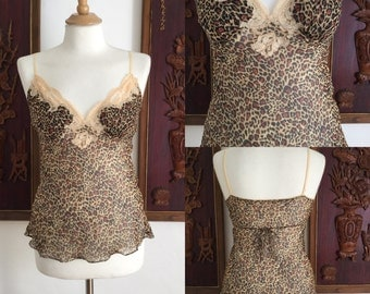 Vintage 90s / Leopard Print / Camisole / Top / Medium