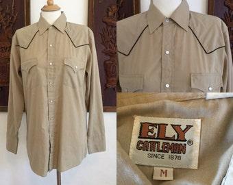 Vintage 70s / Tan / Western / Ely Cattleman / Long Sleeve / Rodeo / Snap / Shirt / Medium