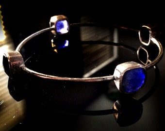 Blue Lapis Bangle,Large 925 Sterling Silver Bangle Bracelet,Birthstone December,Jewelry Gemstone - Bezel Set Bangles TANEESI