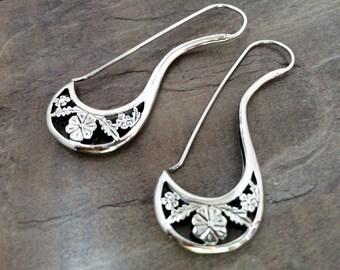 Sterling Silver Hoop Earrings,.925 Silver earrings,Tribal jewelry,Ethnic jewelry, Long Hoops,Tribal hoop earrings by Taneesi