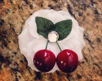 Cherries and white flower hair clip rockabilly pin up summertime oasis fruit clip