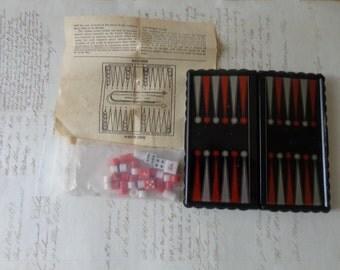 Vintage mini backgammon set