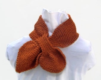 Knitted Ascot Scarf in burnt orange