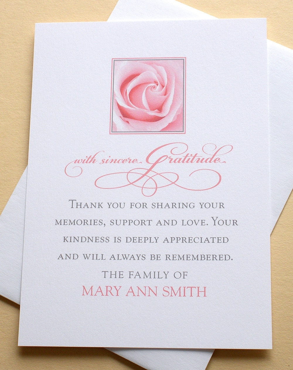 thank you sympathy cards with a pink rose personalized