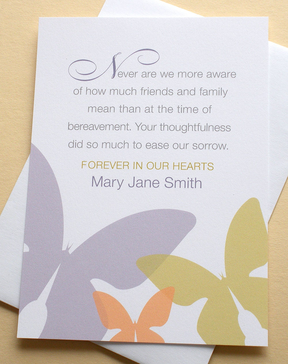 thank you sympathy card with three butterflies personalized