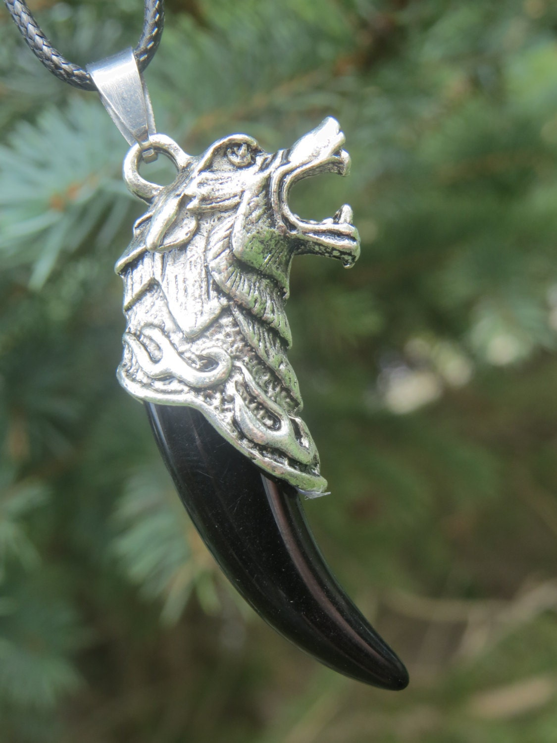 wolf necklace wolf tooth pendant wolf jewelry wolf totem