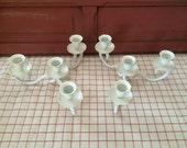 SALE Set of Heirloom White Metal Candelabras Low Display Short candle holder Brass