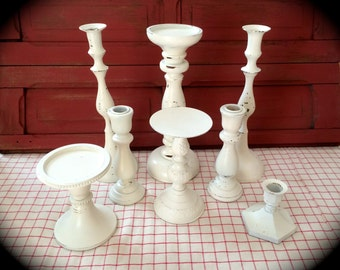 SALE Candle Holder Collection Pillar Candlesticks Heirloom White Wedding