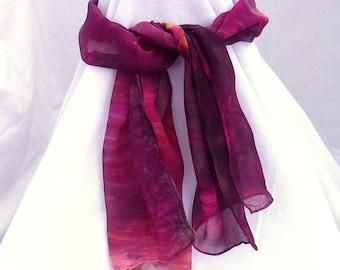 Hand dyed Silk Scarf, Silk Scarf, Silk Chiffon Scarf , 52 x 11.5 inches, SallyAnnesSilks  S76