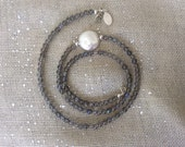 Labradorite Beaded Strand with Coin Pearl