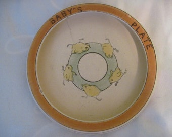 Roseville Pottery Juvenile Rolled Edge Plate ~ Chicks