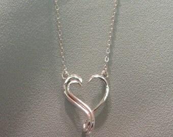 Keepsake Open Heart Ring Holder Necklace Silver Charm Pendant  JJDLJewelryArt