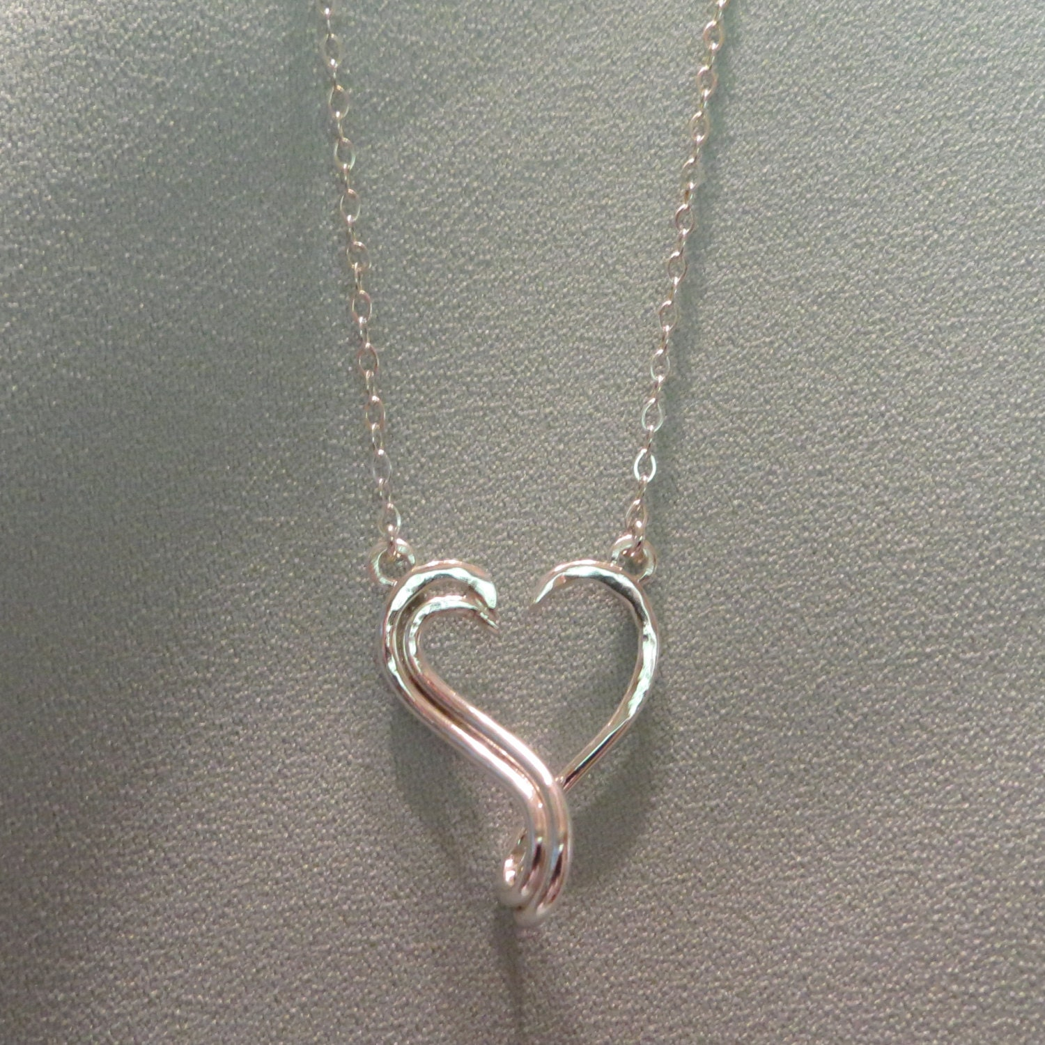 Keepsake Open Heart Ring Holder Necklace Silver Charm Pendant