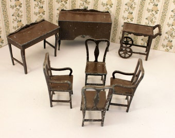 Tootsie Toy  Dollhouse Dining Room Furniture Chairs Buffet Tea Cart Desk