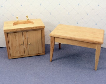 Toy Dollhouse Kitchen Furniture Table and Sink Cabinet