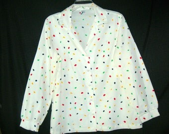 Retro Vintage Multi-Color Dots Division II Blouse-Size 16-
