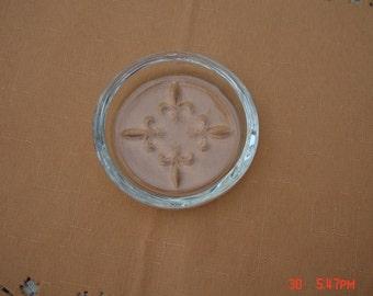 Vintage Clear Glass Fleur de Lis Trinket Dish - Sweet