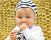 black white stripe baby pilot hat, emmifaye hat, hat with ties, toddler hat baby cap, hearing aid hat, baby gift, snug fit hat, fall cap