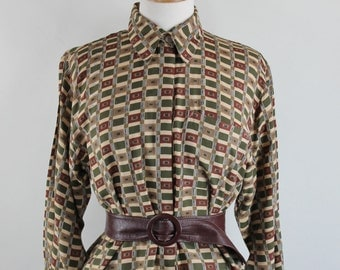 90s Womens Brown WWII Style Modern Art Secretary Blouse, Vintage, Size Large