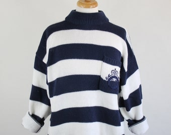 Vintage 80s Womens Navy Blue White Nautical Stripes Preppy Pullover Sweater