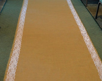25 ft Burlap Runner with Lace Trim