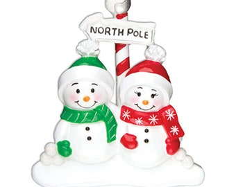 Personalized Christmas Family  Ornaments Snowman NorthPole Newlyweds First Christmas , couple, grandkids,friends co-workers