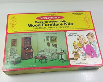 MINIATURE DOLLHOUSE Furniture KIT, Realife-Heritage Series Living Room, 1974, Vintage Suplies for Building  Furniture