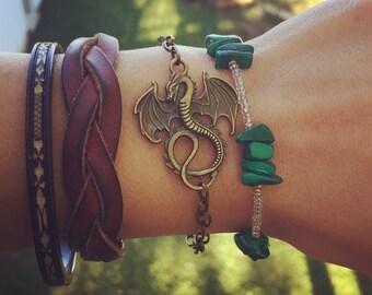 Dragon Layering Bracelet / Antique Brass Bronze / Pick your length / dragon Lover Jewelry Gift / Renaissance Festival Faire Boho Hippie