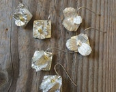 silver flower earrings, geranium leaves, ginkgo leaves, coral, silver earrings, wedding earrings, gardener gift, florist gift, chef gift